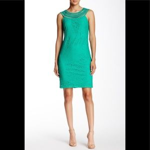 Eliza J Teal Sleeveless Lace Shift Dress Size 10